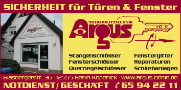 schl ssel notdienst argus 24h 12555 berlin k penick wegweiser aktuell. Black Bedroom Furniture Sets. Home Design Ideas