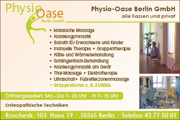 physio oase berlin gmbh 10365 berlin lichtenberg wegweiser aktuell. Black Bedroom Furniture Sets. Home Design Ideas