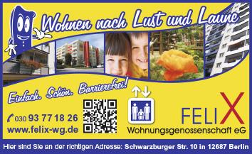 felix wohnungsgenossenschaft eg 12687 berlin marzahn wegweiser aktuell. Black Bedroom Furniture Sets. Home Design Ideas