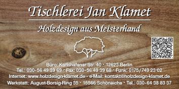 tischlerei jan klamet 12623 berlin hellersdorf mahlsdorf wegweiser aktuell. Black Bedroom Furniture Sets. Home Design Ideas
